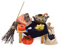 Halloween preparations composition of witch table with magic objects on it isolated Stock Photography