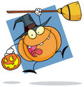 Halloween pumkin with a broom Royalty Free Stock Photo