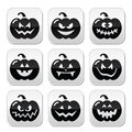 Halloween pumkin buttons set celebrating pumpkin with scary faces isolated on white Royalty Free Stock Images