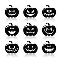 Halloween pumkin icons set celebrating pumpkin with scary faces on white Stock Photography