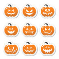 Halloween pumkin orange icons set celebrating pumpkin with scary faces labels isolated on white Royalty Free Stock Photos