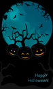 Halloween pumpkin  backgound with trees Royalty Free Stock Photo