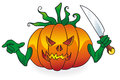 Halloween pumpkin bad lantern with knife on a white background Stock Images