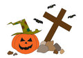 Halloween pumpkin and bats on graveyard Stock Photo