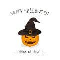Halloween pumpkin in black witch hat
