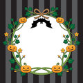 Halloween pumpkin border design on stripe background Royalty Free Stock Photo