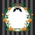 Halloween pumpkin border design on stripe background