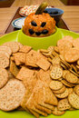 Halloween Pumpkin Cheese Ball with Crackers Stock Photo