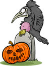 Halloween pumpkin with crow cartoon illustration of spooky raven or on the grave Royalty Free Stock Images