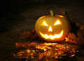 Halloween pumpkin in dark garden glowing candle light Royalty Free Stock Photos