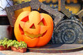 Halloween pumpkin decorative on display in the garden Royalty Free Stock Image