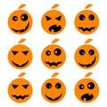 Halloween pumpkin emoji emoticons set