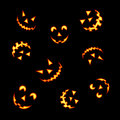 Halloween pumpkin faces Stock Photos