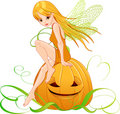 Halloween pumpkin fairy Royalty Free Stock Image