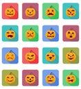 Halloween pumpkin flat icons vector illustration Royalty Free Stock Photo