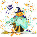 Halloween pumpkin, food and magic witch hat. Watercolor illustration background