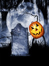 Halloween pumpkin ghoul a ghoulish waves scary stick hands while grasping a tombstone large full moon serves as a backdrop Royalty Free Stock Photography