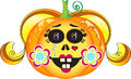 Halloween pumpkin girl illustration of smiling with colorful eyes blond hair red lips heart tattoo tears and cheeks decorated with Royalty Free Stock Images