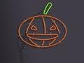 Halloween pumpkin glowing neon 3d illustration on dark background