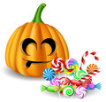 Halloween pumpkin head with candy set cute on white Stock Photo