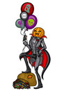 Halloween pumpkin head jack with air balloons illustration standing on a bag of candy vector graphic Royalty Free Stock Photos