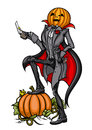 Halloween pumpkin head jack with blade illustration standing on the garden vector graphic Royalty Free Stock Photos