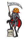 Halloween pumpkin head jack the reaper illustration with scythe vector graphic Royalty Free Stock Images