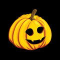 Halloween pumpkin icon in cartoon style. Jack o lantern object isolated on a black background. It can be used for your design gree Royalty Free Stock Photo