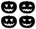 Halloween pumpkin icons set isolated on white four black smiling silhouettes the background vector eps Stock Images