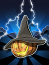 Halloween pumpkin illustration denoted holiday effigy with Stock Photo