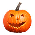 Halloween Pumpkin isolated on white. Scary Jack O'Lantern face Royalty Free Stock Photo