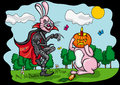 Halloween pumpkin jack and easter rabbit is changing heads with vector graphic Royalty Free Stock Photos
