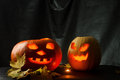 Halloween - Pumpkin jack-o-lantern on black background Royalty Free Stock Photo