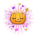 Halloween pumpkin Jack o lantern in fairy princess Stock Photos