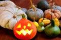 Halloween pumpkin Jack o lantern glowing Royalty Free Stock Photo