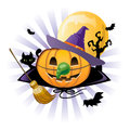 Halloween pumpkin Jack o lantern in wich costume Royalty Free Stock Photography
