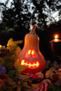 Halloween pumpkin lantern with autumn leaves and candies Stock Photos
