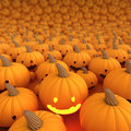 Halloween pumpkin a lot in background only one light on d render Royalty Free Stock Photography