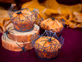 Halloween Pumpkin Muffins Decorated with Spiders and Spider Web Royalty Free Stock Photo