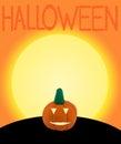 Halloween pumpkin on orange background with text