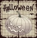 Halloween pumpkin over old paper map with grid vector eps Royalty Free Stock Photos