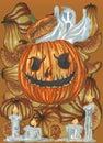 Halloween pumpkin on pumkins orange background Royalty Free Stock Photo