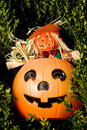 Halloween Pumpkin and Scarecrow Stock Photo