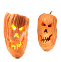 Halloween pumpkin with scary evil faces isolated on a white background Royalty Free Stock Photos
