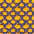 Halloween pumpkin seamless vector pattern Royalty Free Stock Photo
