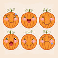 Halloween pumpkin set Stock Photos