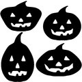 Halloween pumpkin silhouette illustrations of carved lantern faces for Stock Photos