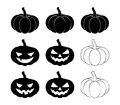 Halloween pumpkin silhouette set vector illustration, Jack O Lantern   on white background. Scary orange picture with eyes Royalty Free Stock Photo