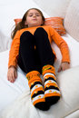 Halloween Pumpkin Socks Girl Sofa Royalty Free Stock Photography