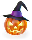 Halloween pumpkin in witch hat a drawing of a cartoon with classic scary face carved into it and wearing a pointy witchs Royalty Free Stock Images